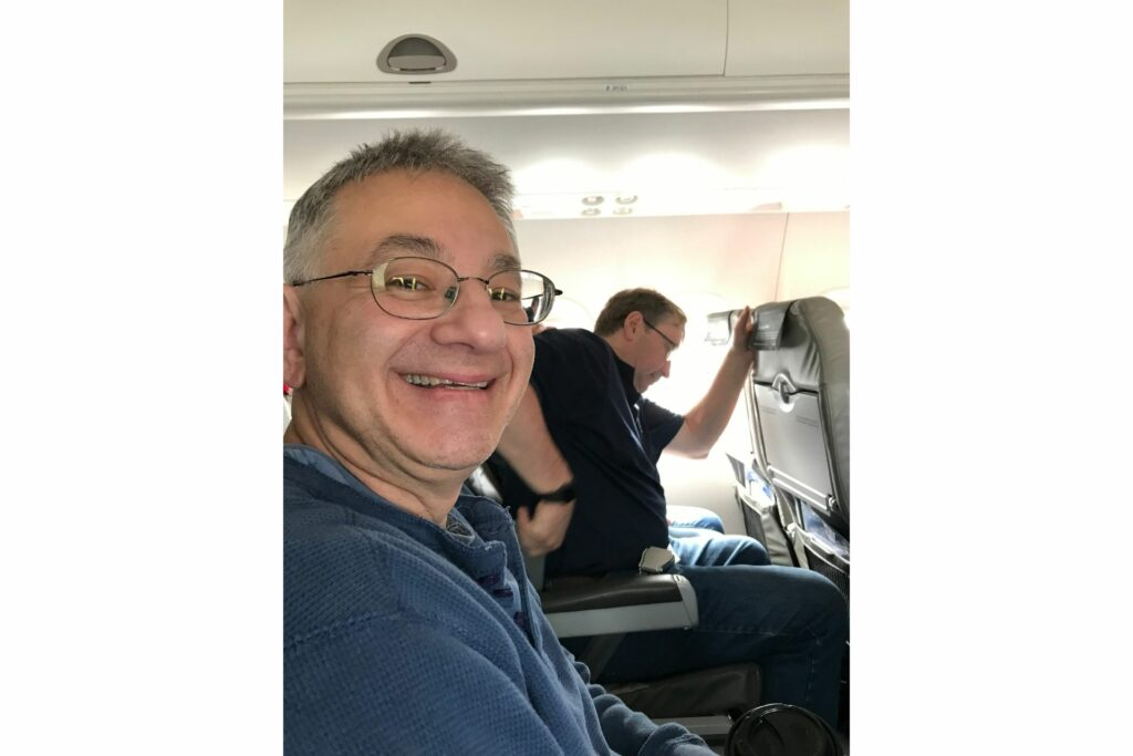 2 guys on a plane before takeoff