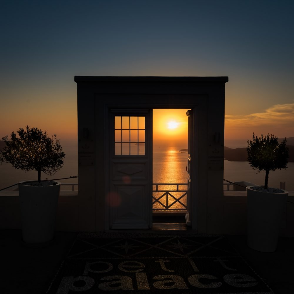 doorway open to sunset